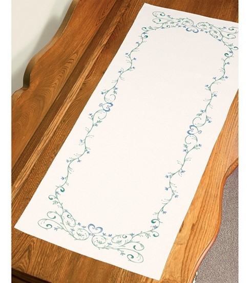 Filigree Scroll Dresser Scarf Stamped Embroidery-14 X39