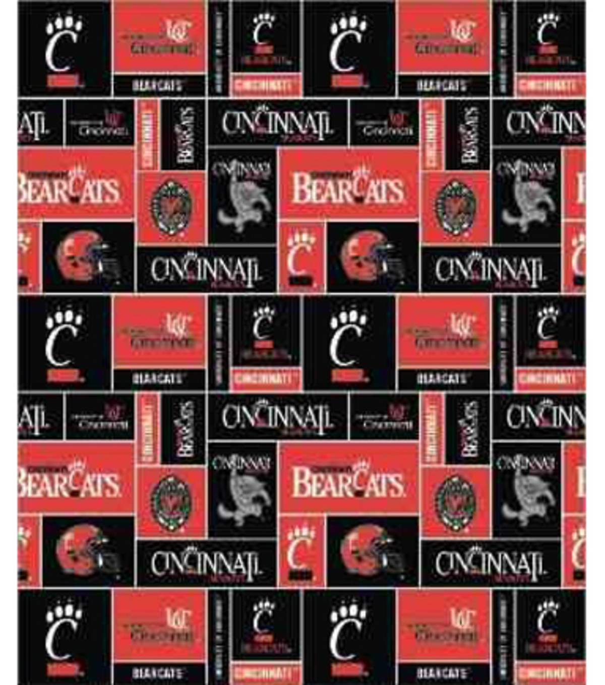University of Cincinnati Bearcats Fleece Fabric 58\u0022-Block