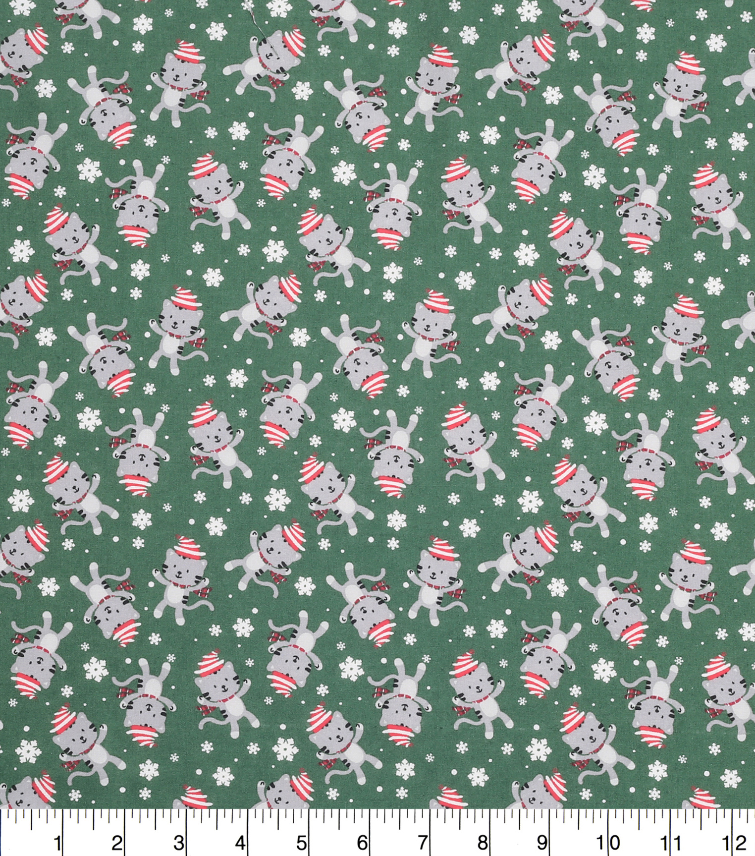 "Keepsake Calico™ Holiday Cotton Fabric 43""-Friendly Kitties Tossed"