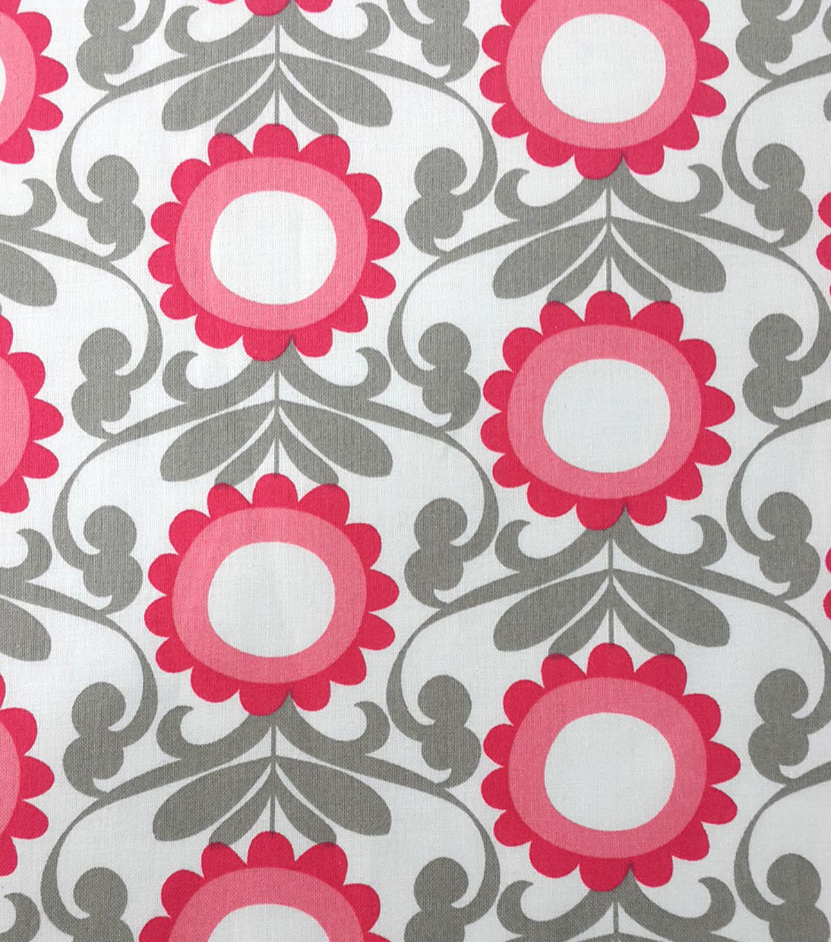 Koko Lee™ Cotton Fabric-Linear Flowers On White