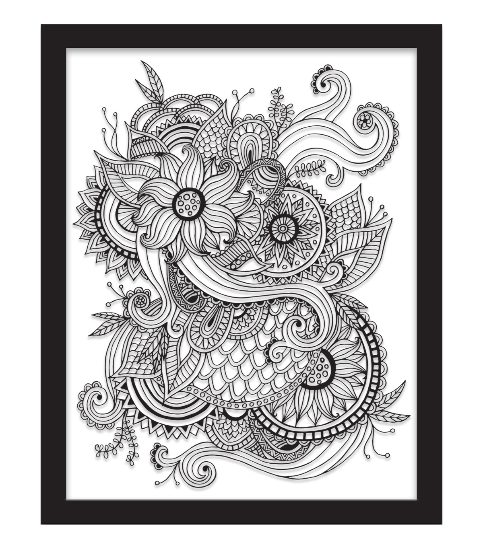 11x14 Color In Floral Tattoo Float Frame Black