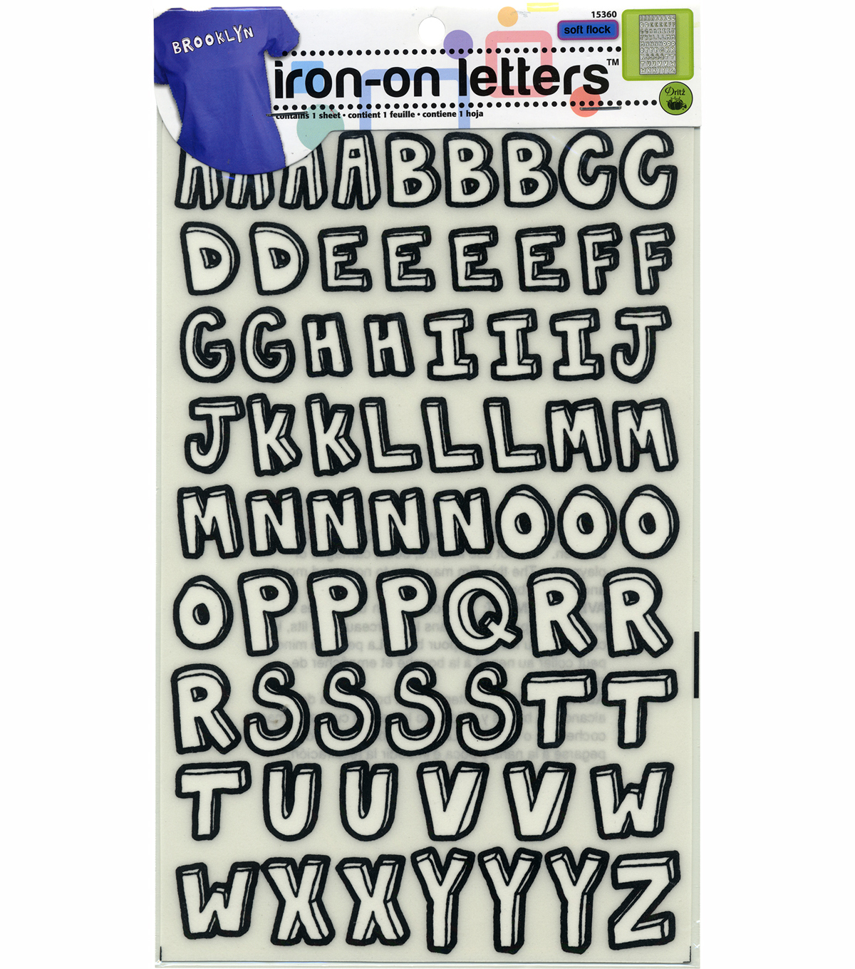 Dritz Folk Letter Hand Script Iron-On Black White