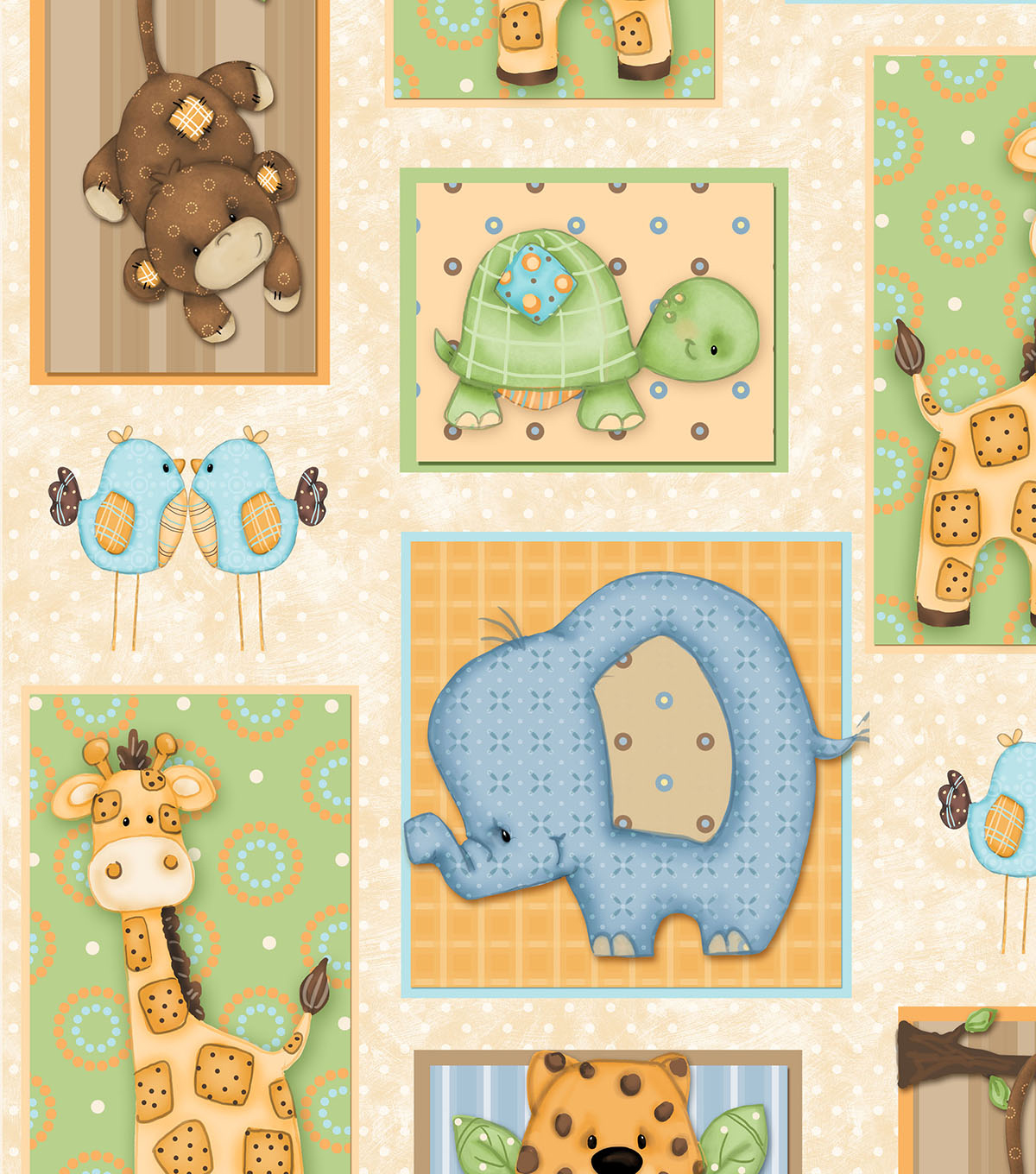 Nursery Cotton Fabric 45\u0022-Zippity Zoo Dah Patch