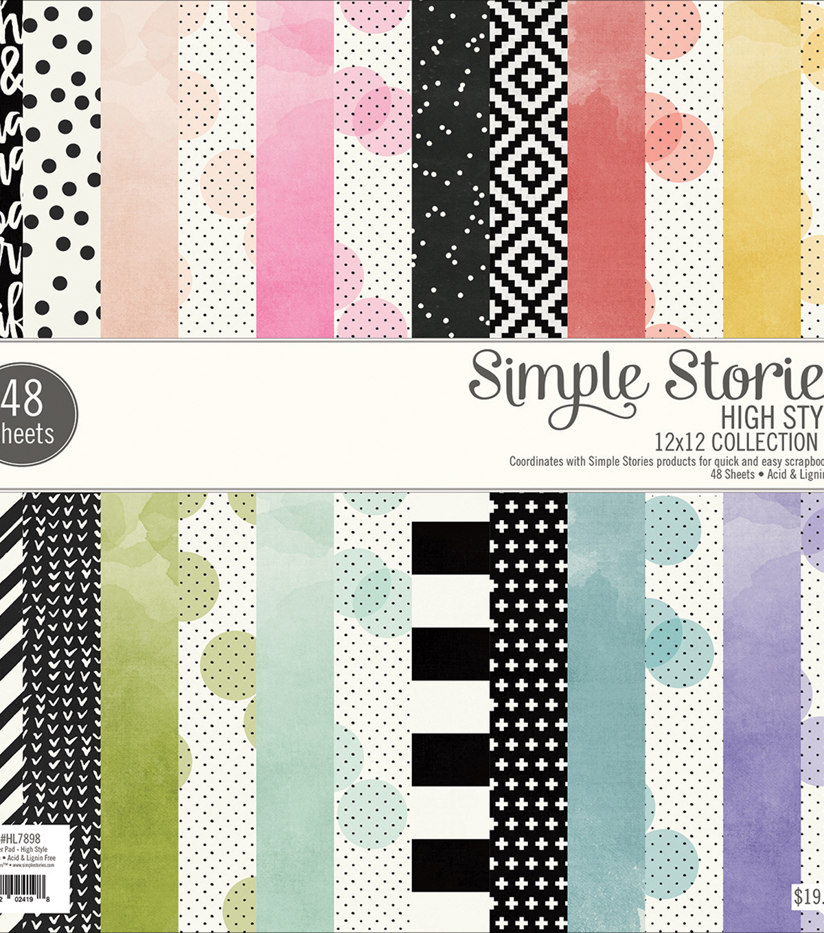 Simple Stories 48 sheets 12\u0027\u0027x12\u0027\u0027 Single-Sided Paper Pad-High Style