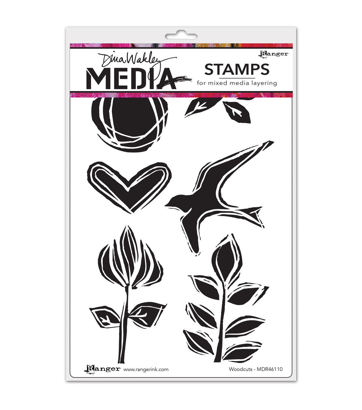 Ranger Dina Wakley Woodcuts Media Cling Stamps