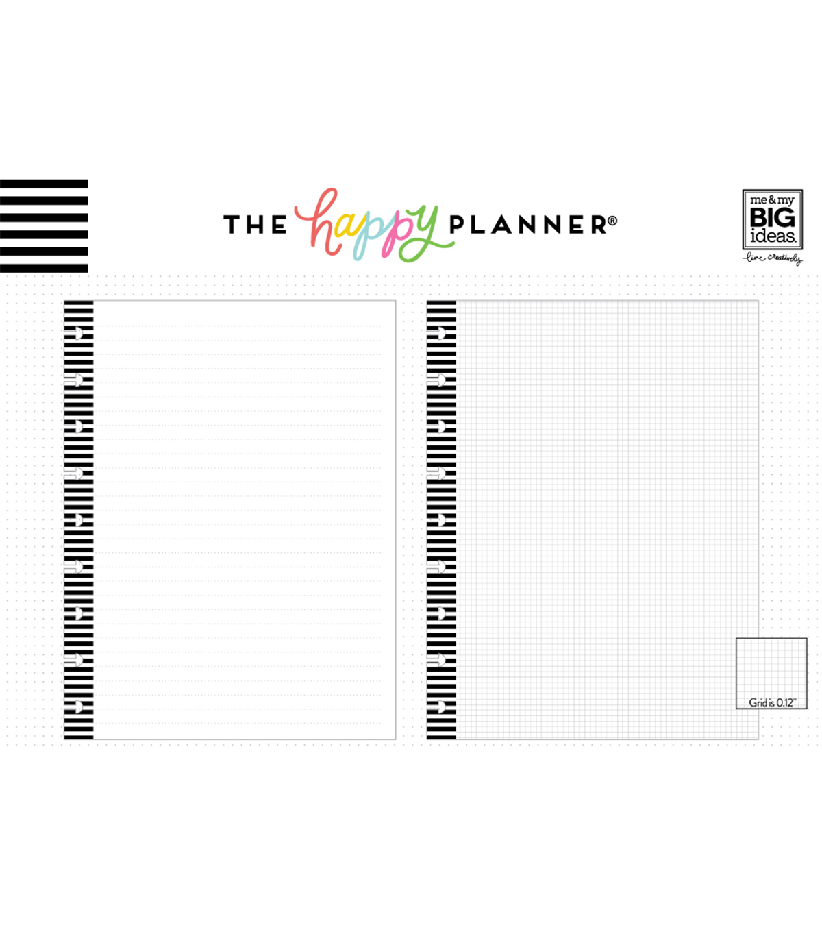 The Happy Planner Graph Fill Paper with Black Stripes