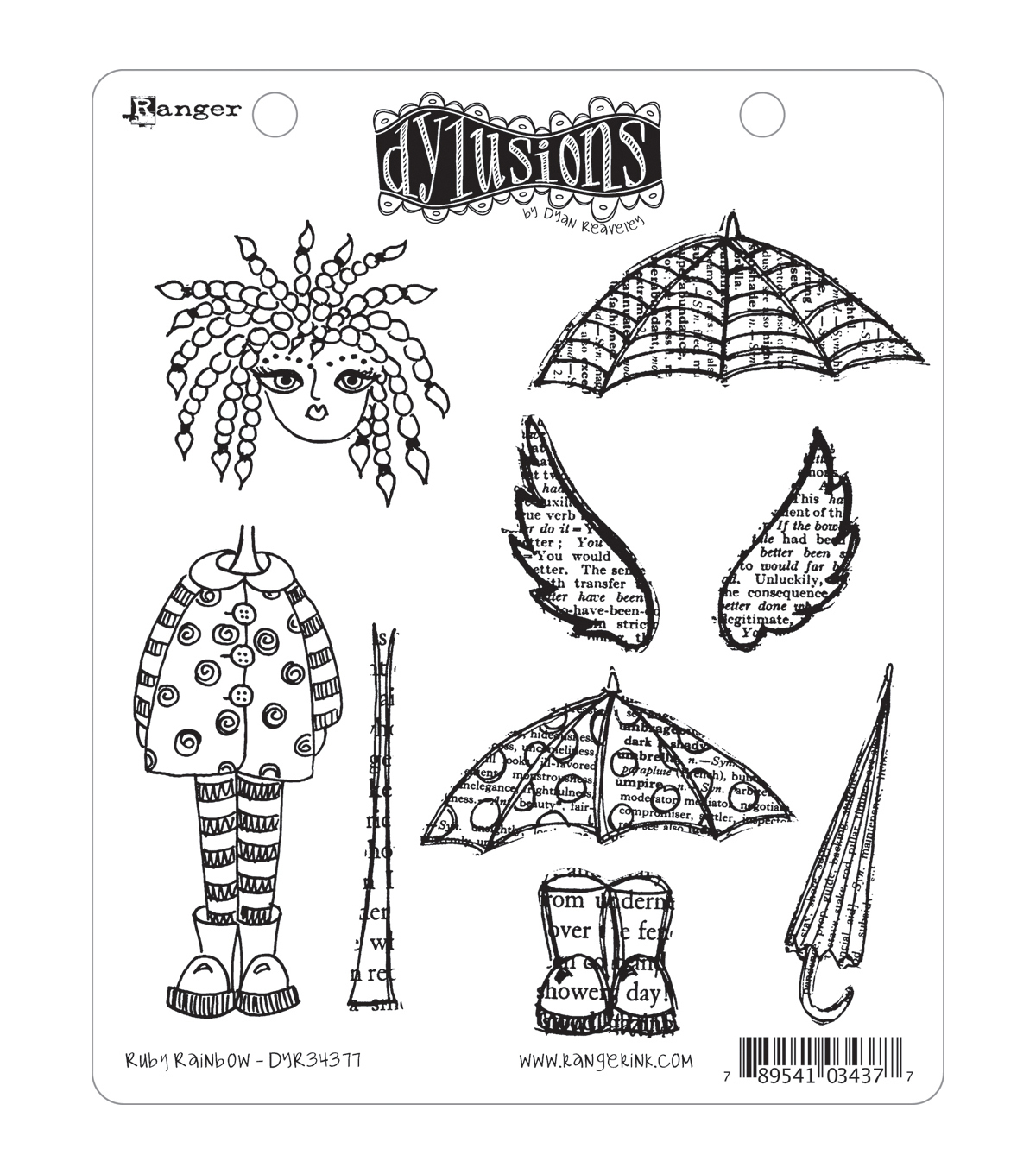 Dyan Reaveley\u0027s Dylusions Cling Stamp Collection-Ruby Rainbow