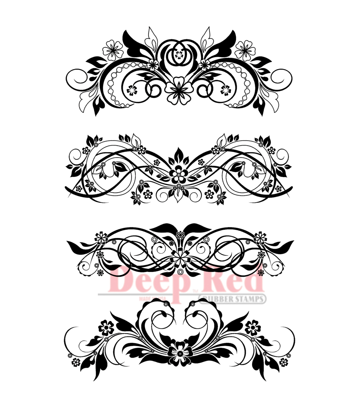 Deep Red Stamps Cling Stamp Set Vector Flourishes