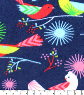 Anti-Pill Fleece Fabric 59\u0022-Boho Bird On Navy