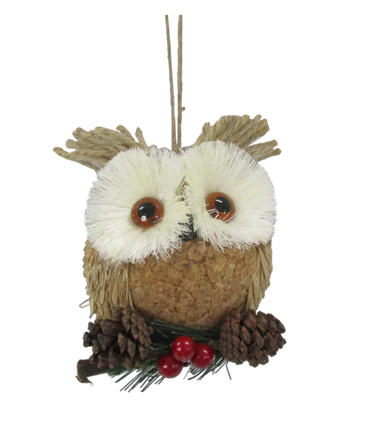 Maker\u0027s Holiday Christmas Woodland Lodge Round Large Owl Head Ornament