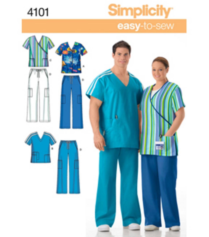 Simplicity pattern 4101 plus size srubs xl xxxl joann simplicity pattern 4101bb scrub tops pants size xl xxl xxxl jeuxipadfo Image collections