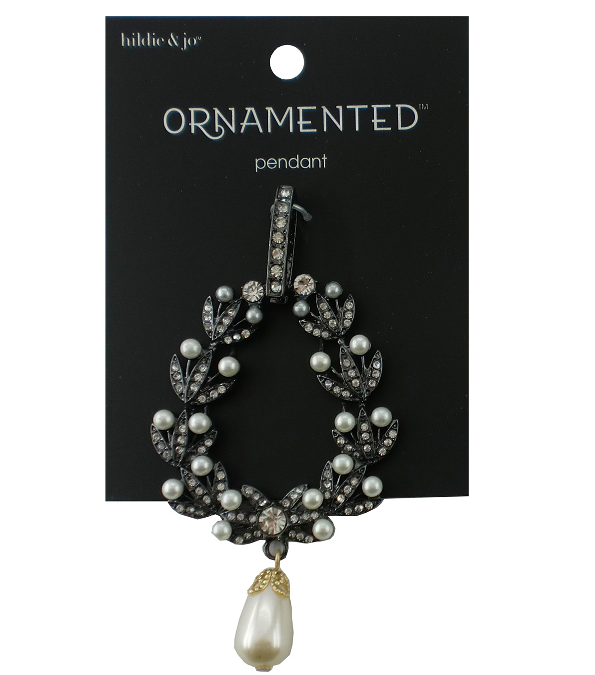 hildie & jo™ Ornamented Antique Silver Pendant-Crystals & Pearls