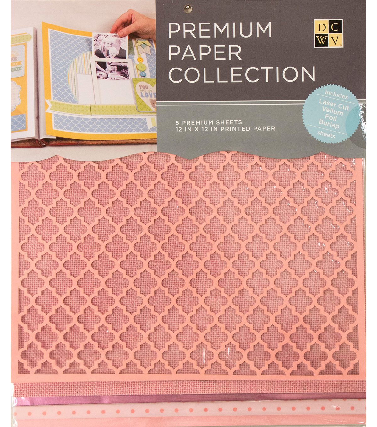 "DCWV 12""x12"" set of 5 Premium Papers-Baby Pink Multipack Assortment"