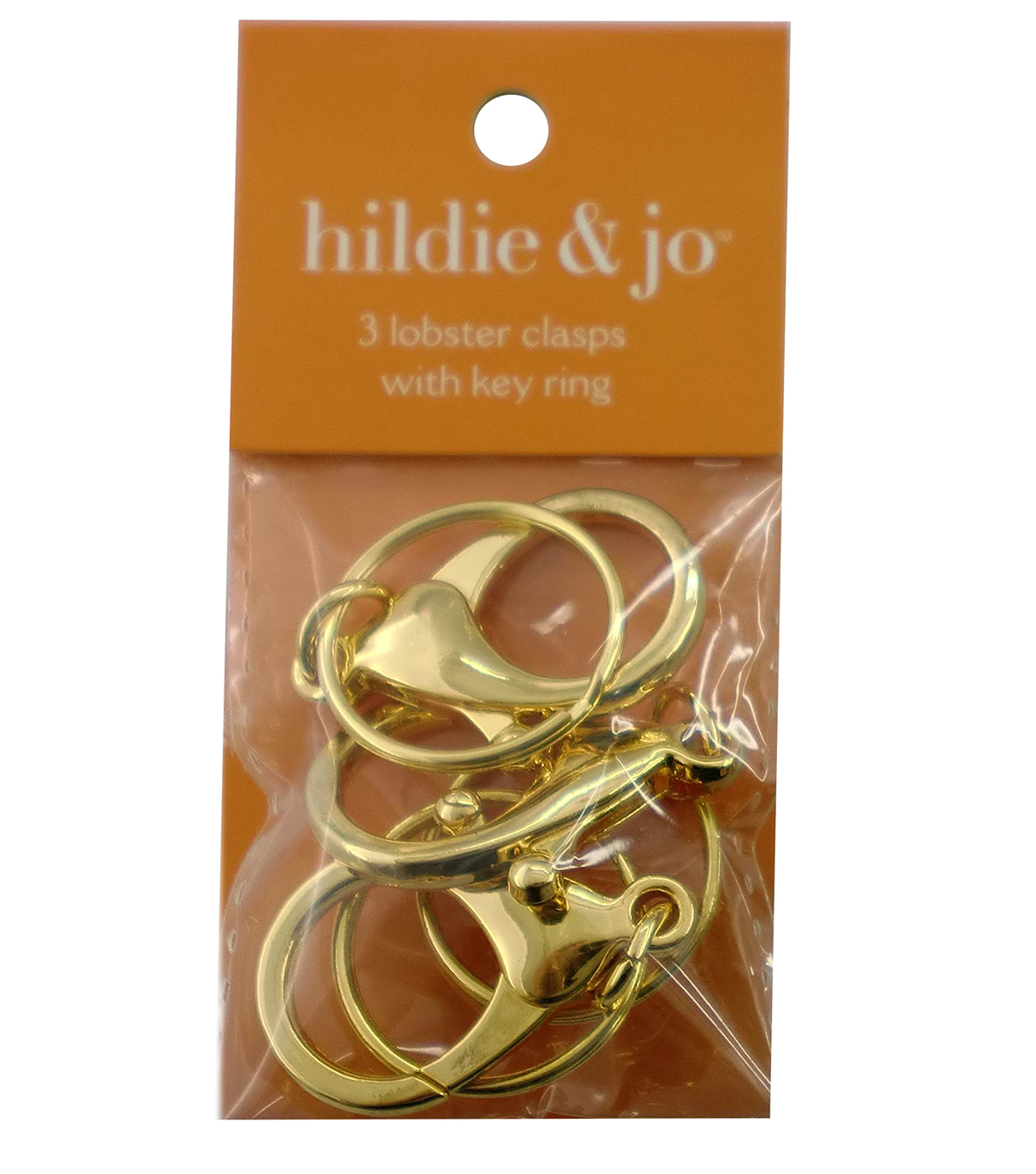 hildie & jo™ 3 Pack Lobster Clasps with Rings-Gold