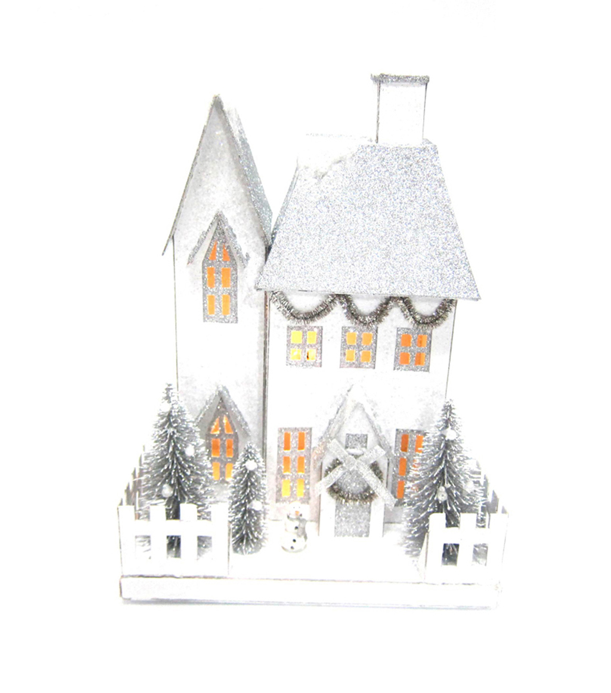 Maker's Holiday LED Paper House-Silver Glitter