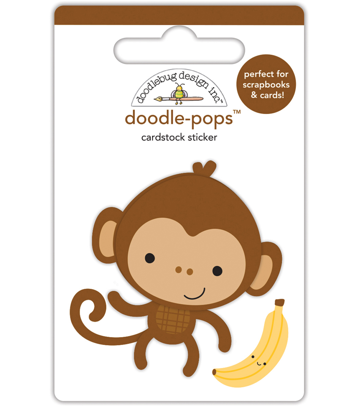 Doodlebug Doodle-Pops 3D Stickers -At The Zoo Monkey Mike