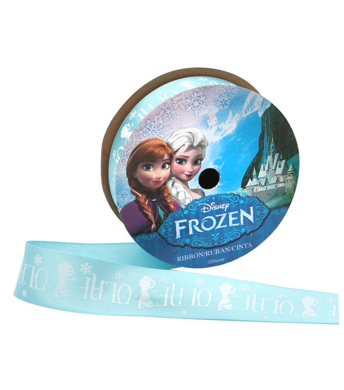 Offray 7/8\u0022x9\u0027 Frozen Olaf Silo Character Single Faced Satin Ribbon-Blue