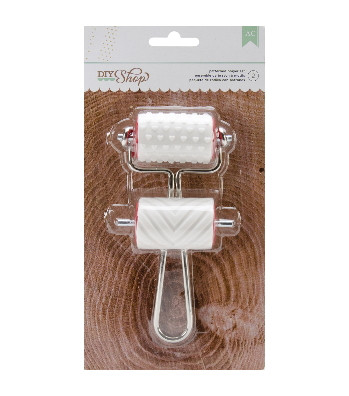 American Crafts DIY Shop Brayer stamps Hearts & Chevron