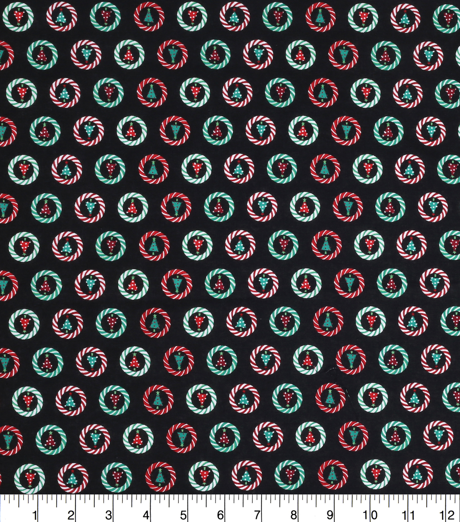 "Keepsake Calico™ Holiday Cotton Fabric 43""-Trees In Striped Circles"