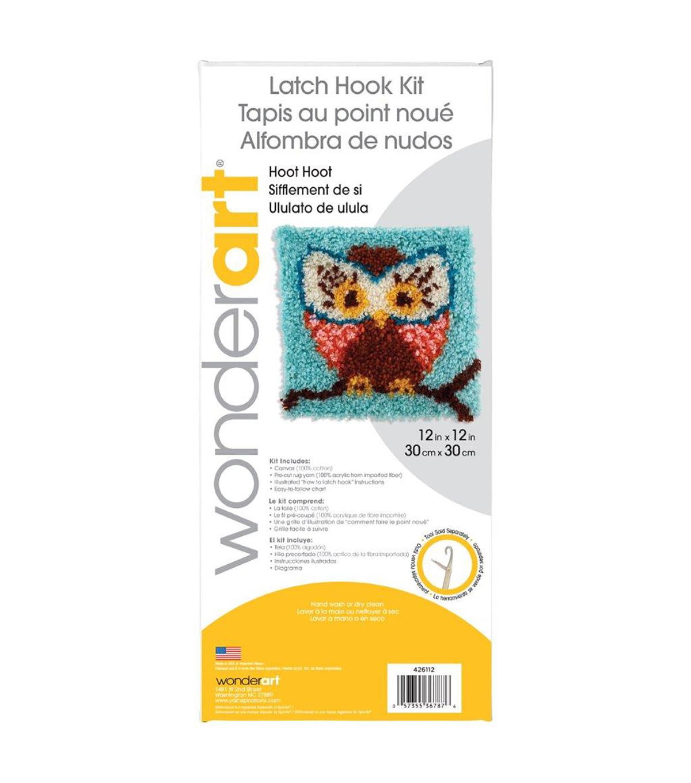 Wonderart Latch Hook Kit 12\u0022X12\u0022 Hoot Hoot