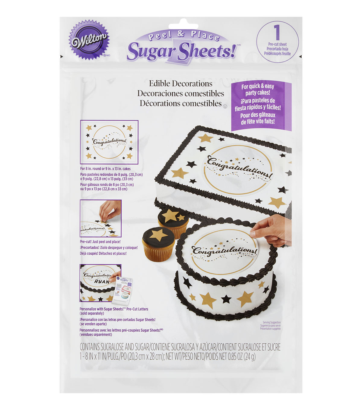 Wilton® Peel & Place Sugar Sheets-Black & Gold Congratulations