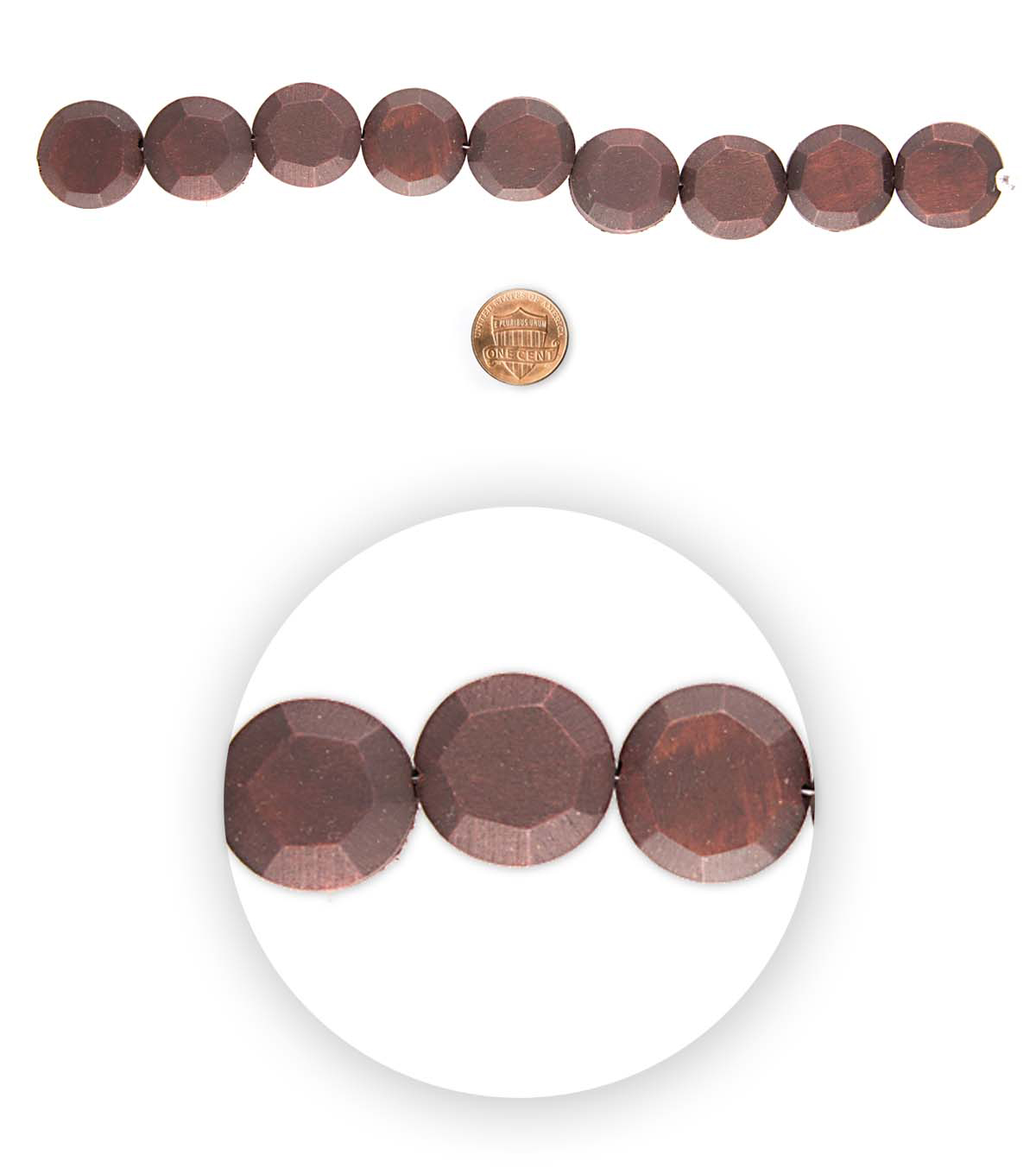 Blue Moon Bead Strands Facetted Wood Coins