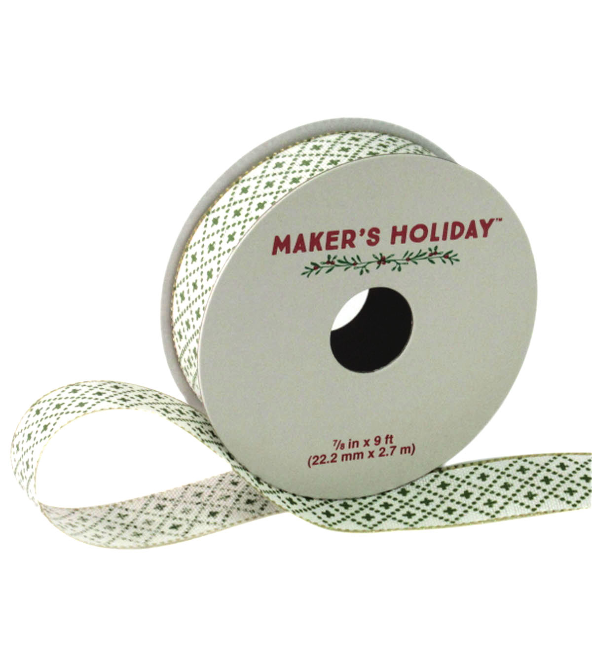 Maker\u0027s Holiday Brick With Edge Ribbon 7/8\u0027\u0027x9\u0027-Green & Gold