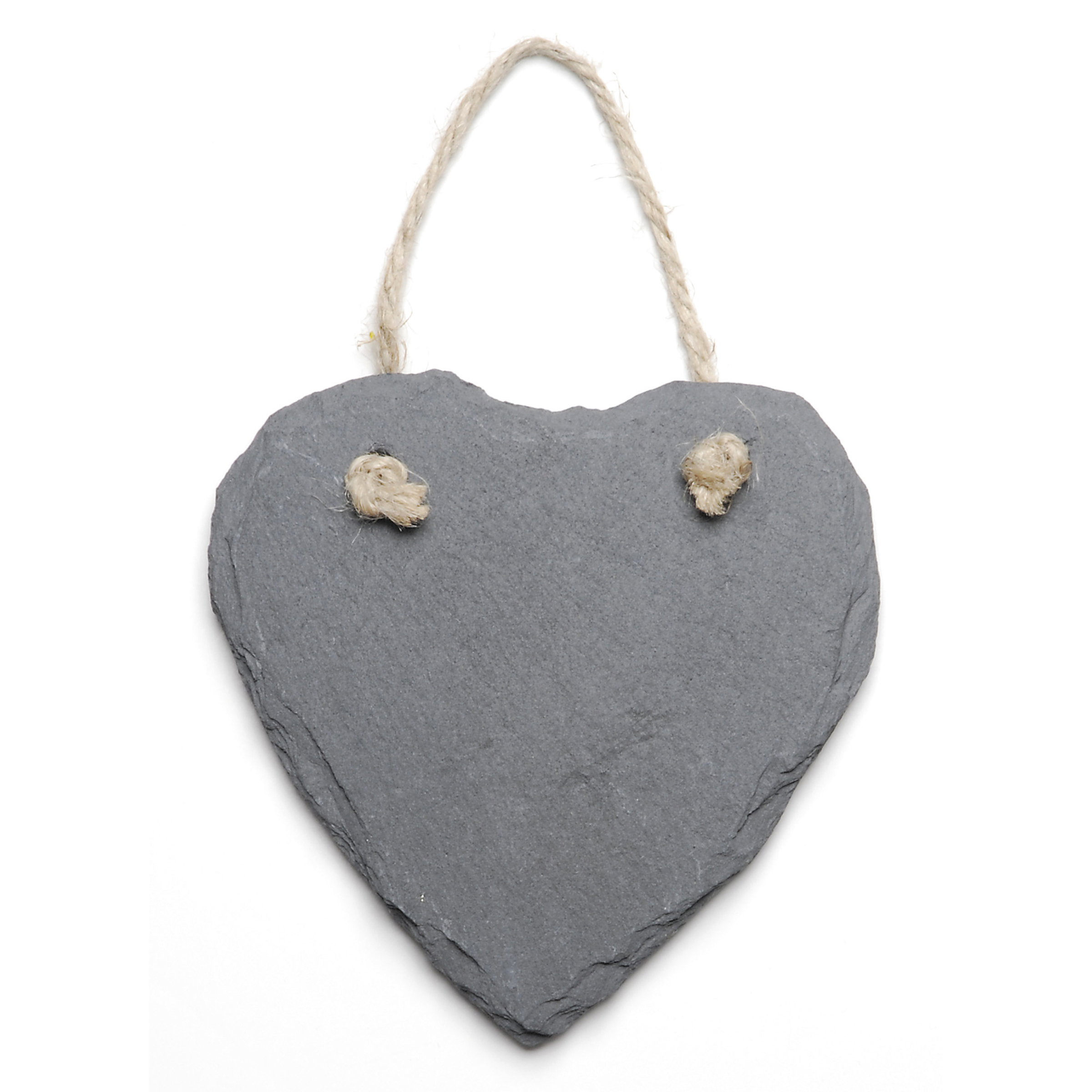 Slate Heart Ornament With Jute Hanger