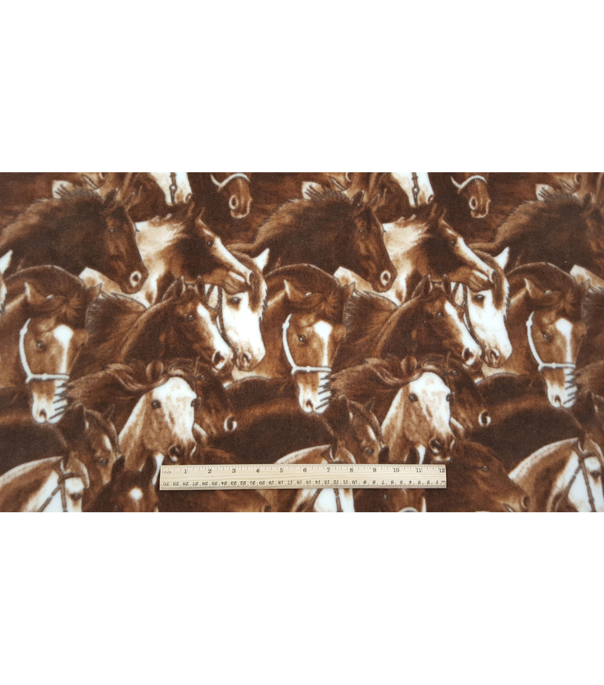 Anti-Pill Fleece Fabric 59\u0022-Running Horses Brown