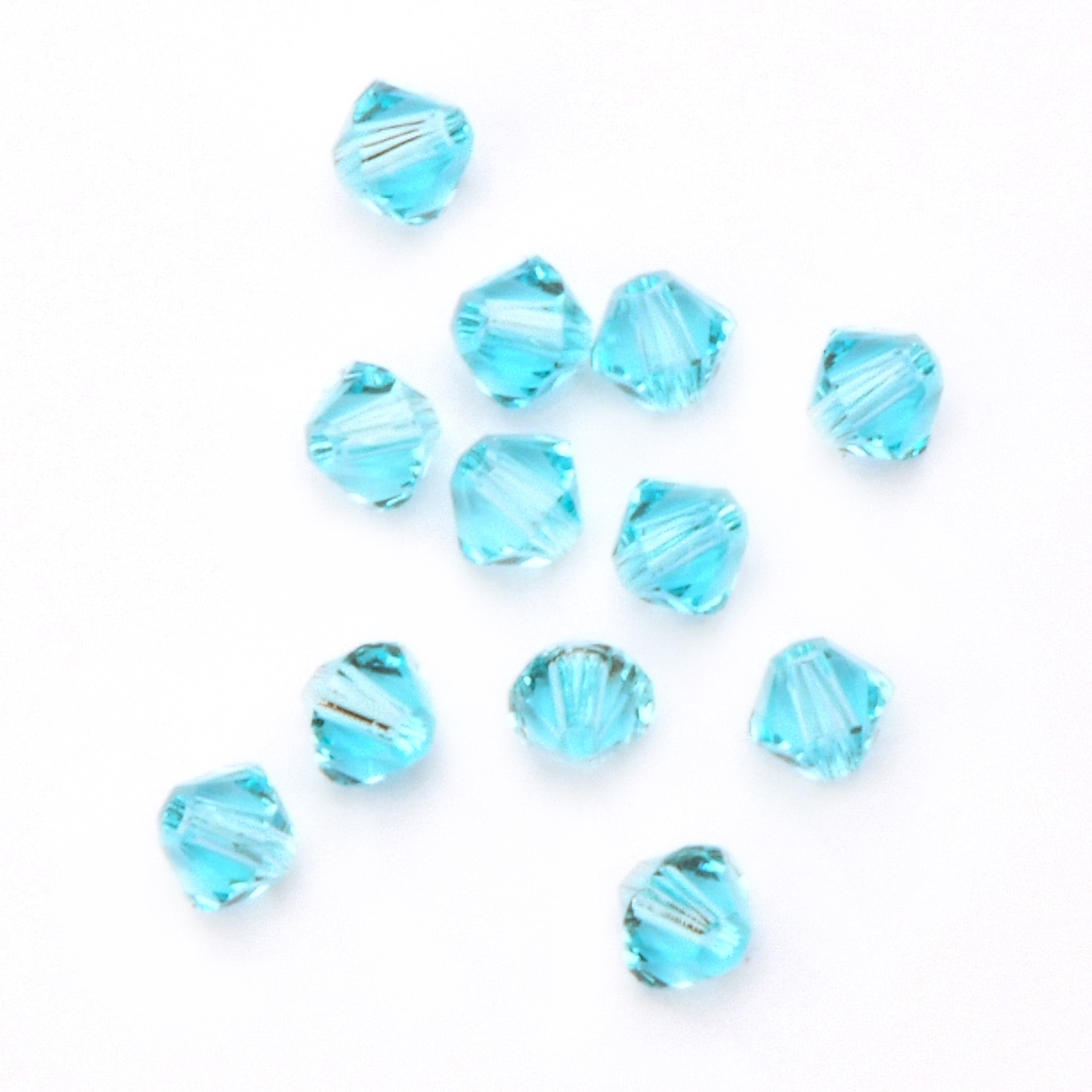 4mm Xilion Cut Bicone Crystal Beads, Light Turquoise