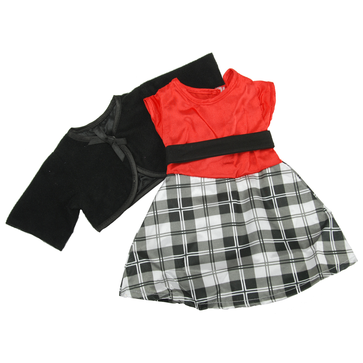 Springfield Boutique Dressy Outfit-Plaid Skirt, Red Shirt and Black Jacket