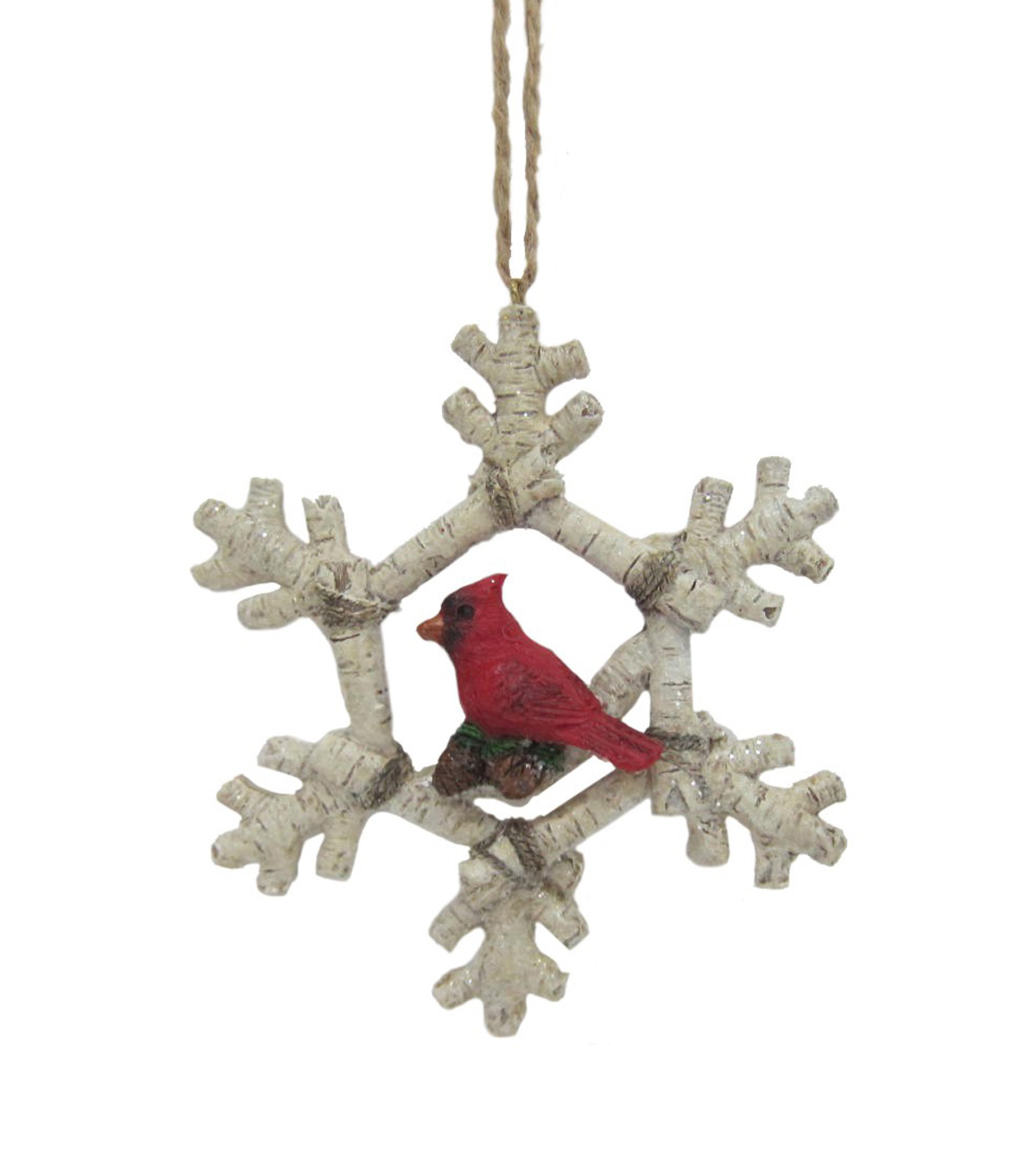 Maker\u0027s Holiday Woodland Lodge Cardinal Birch Snowflake Ornament