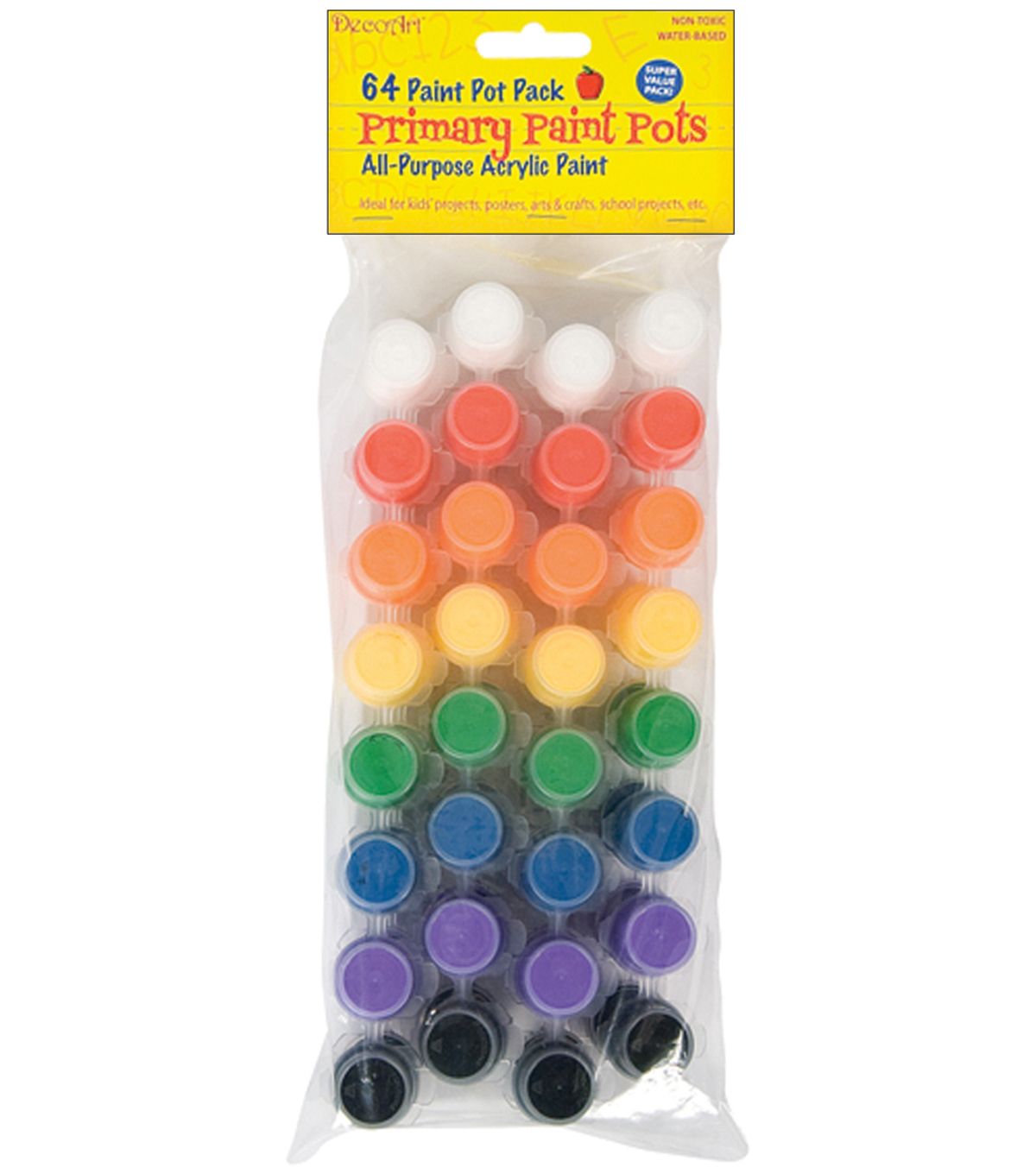 DecoArt Acrylic Paint Pots-64PK/Primary