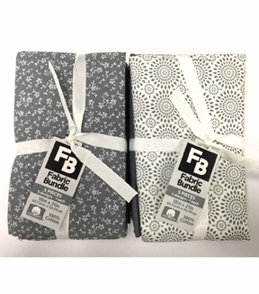 Fat Quarter Bundle Cotton Fabric 5-Pieces 18''-Assorted Patterns On Gray