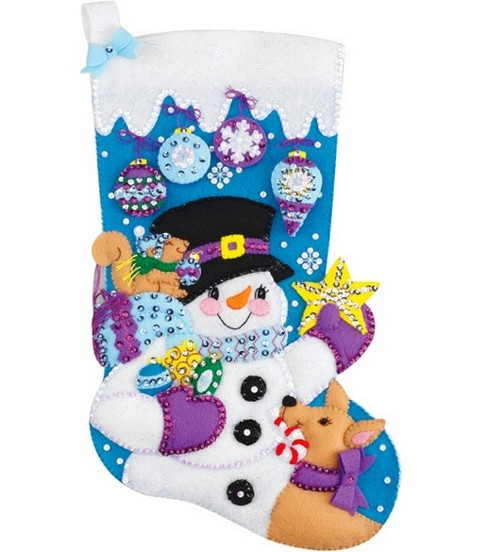 Janlynn Frosty\u0027s Favorite Ornament Stocking Felt Applique Kit