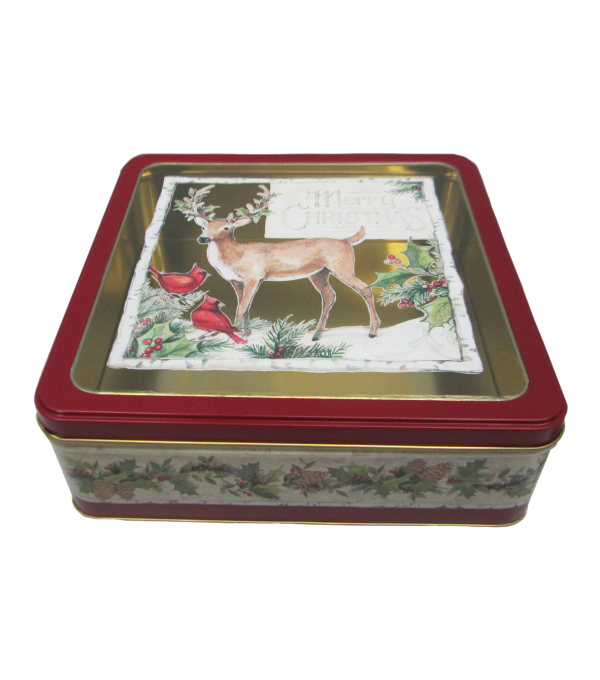 Maker\u0027s Holiday Large Square Cookie Tin With Clear Top-Deer