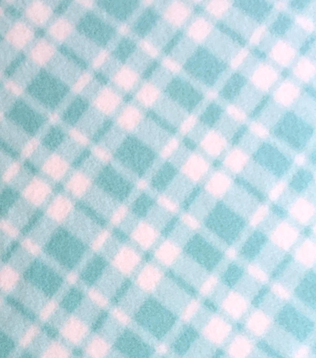 "Micro Fleece Fabric 59""-Plaid Blue Light"