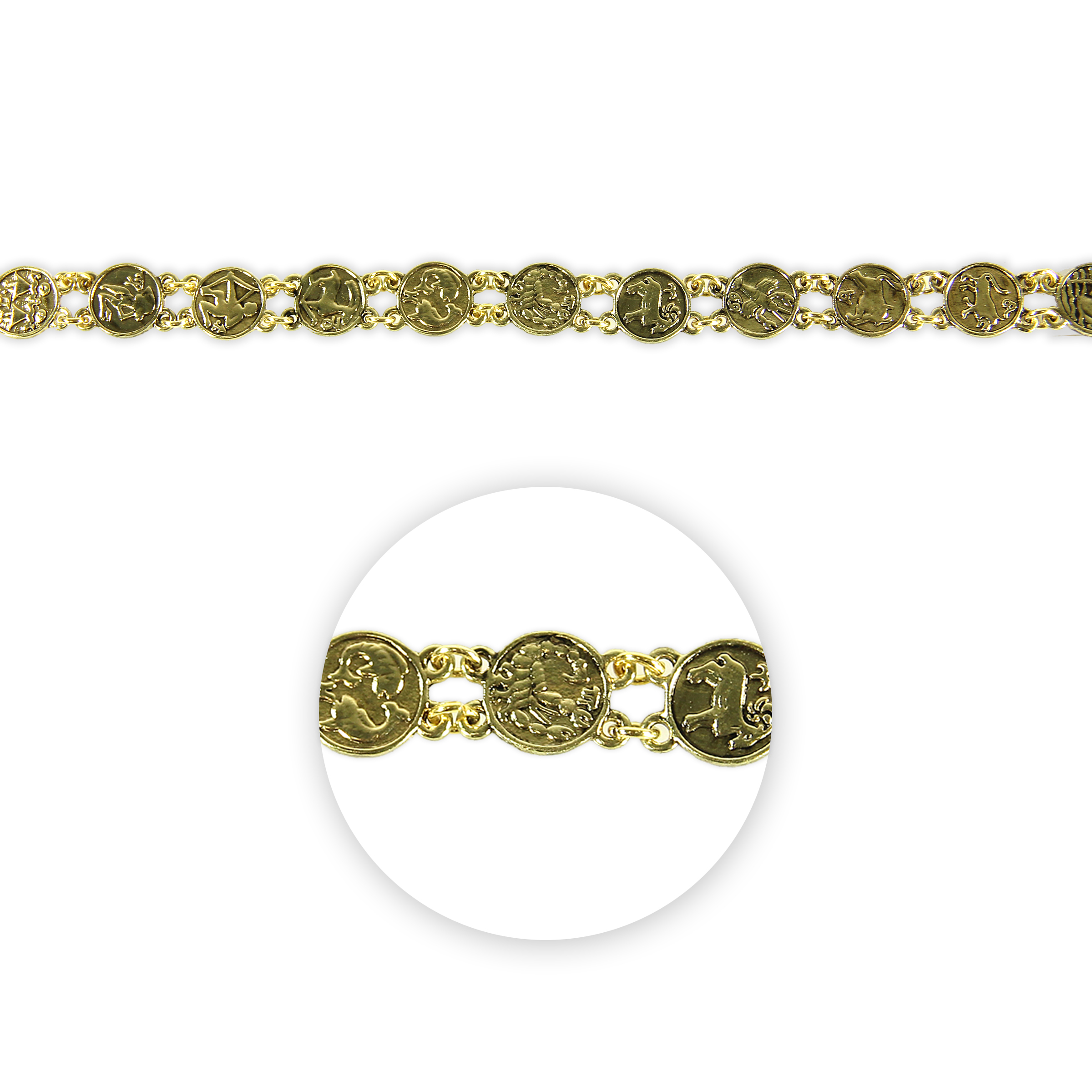 Blue Moon Beads Strand 7\u0022 Metal Zodiac Signs, Antique Gold Two-Loop
