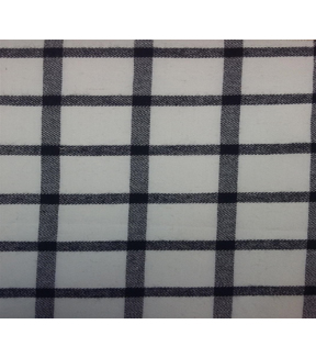 Shirtings Flannel Fabric-White& Black Window Pane Plaid