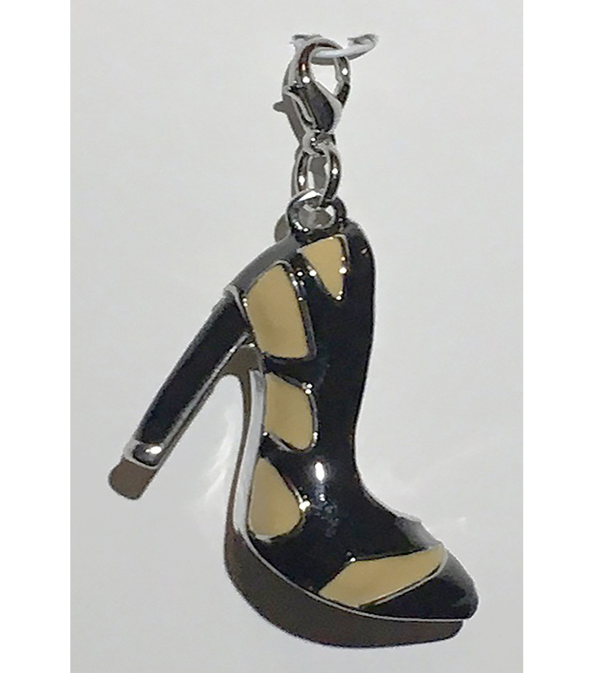 Clip on Shoe-Black & Tan Gold Heel