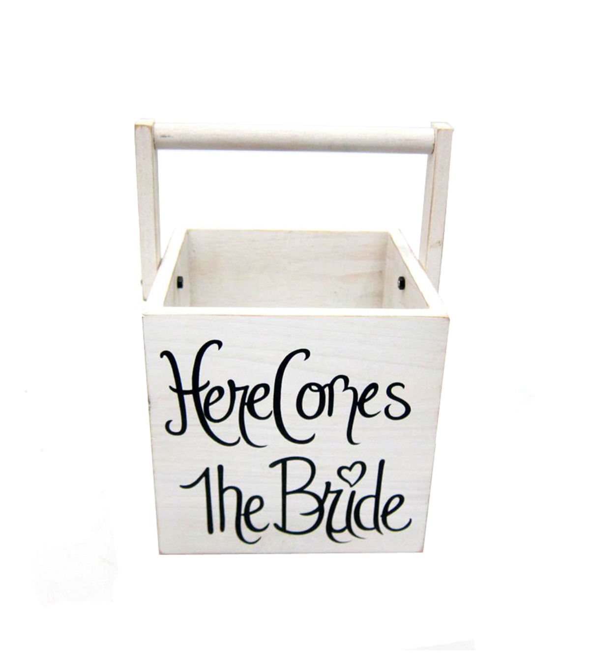 Save The Date Wood Basket-Here Comes The Bride