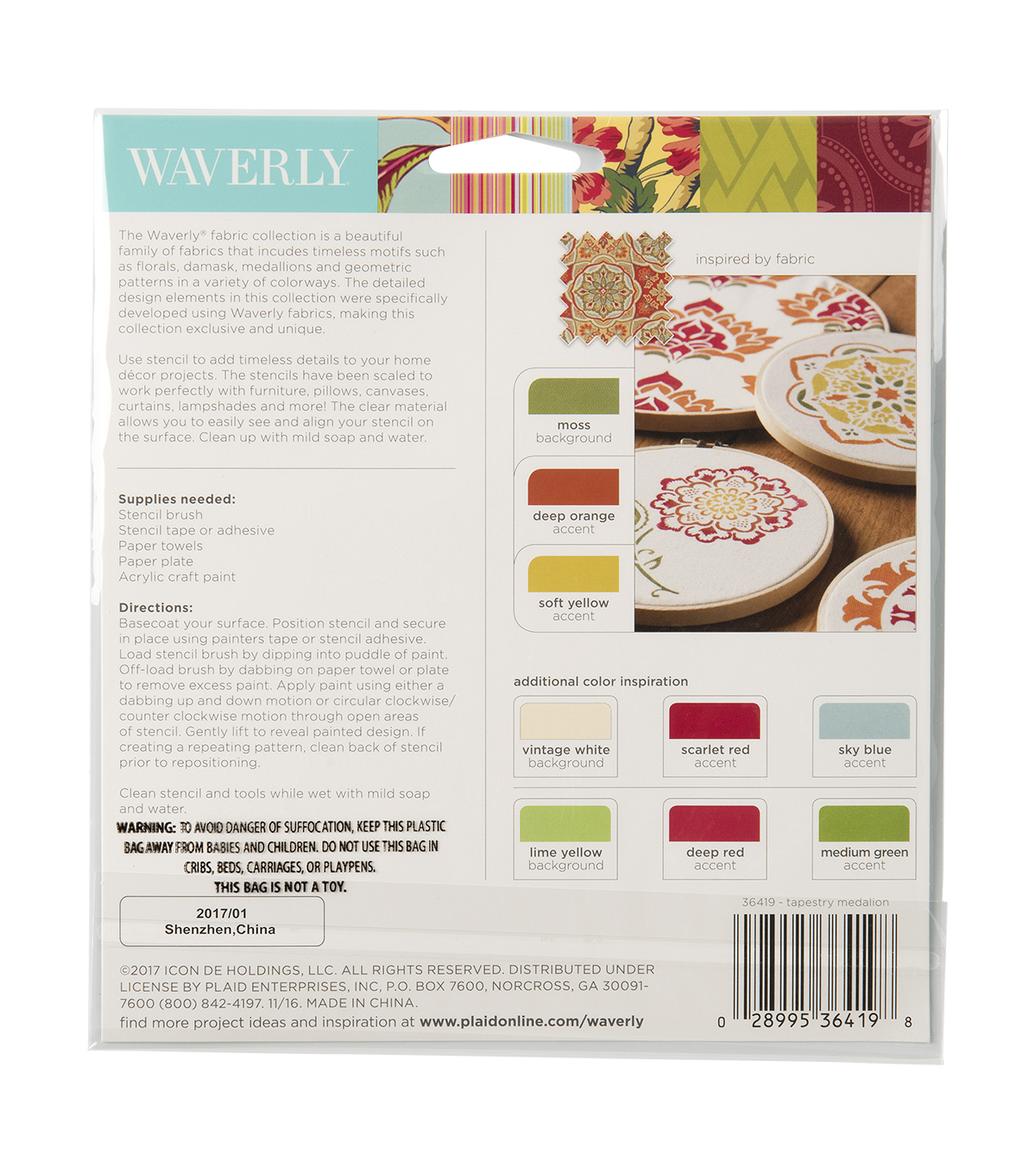 Waverly Fabric Collection 5.5\u0022x5.5\u0022 Paint Stencil-Tile Medallion