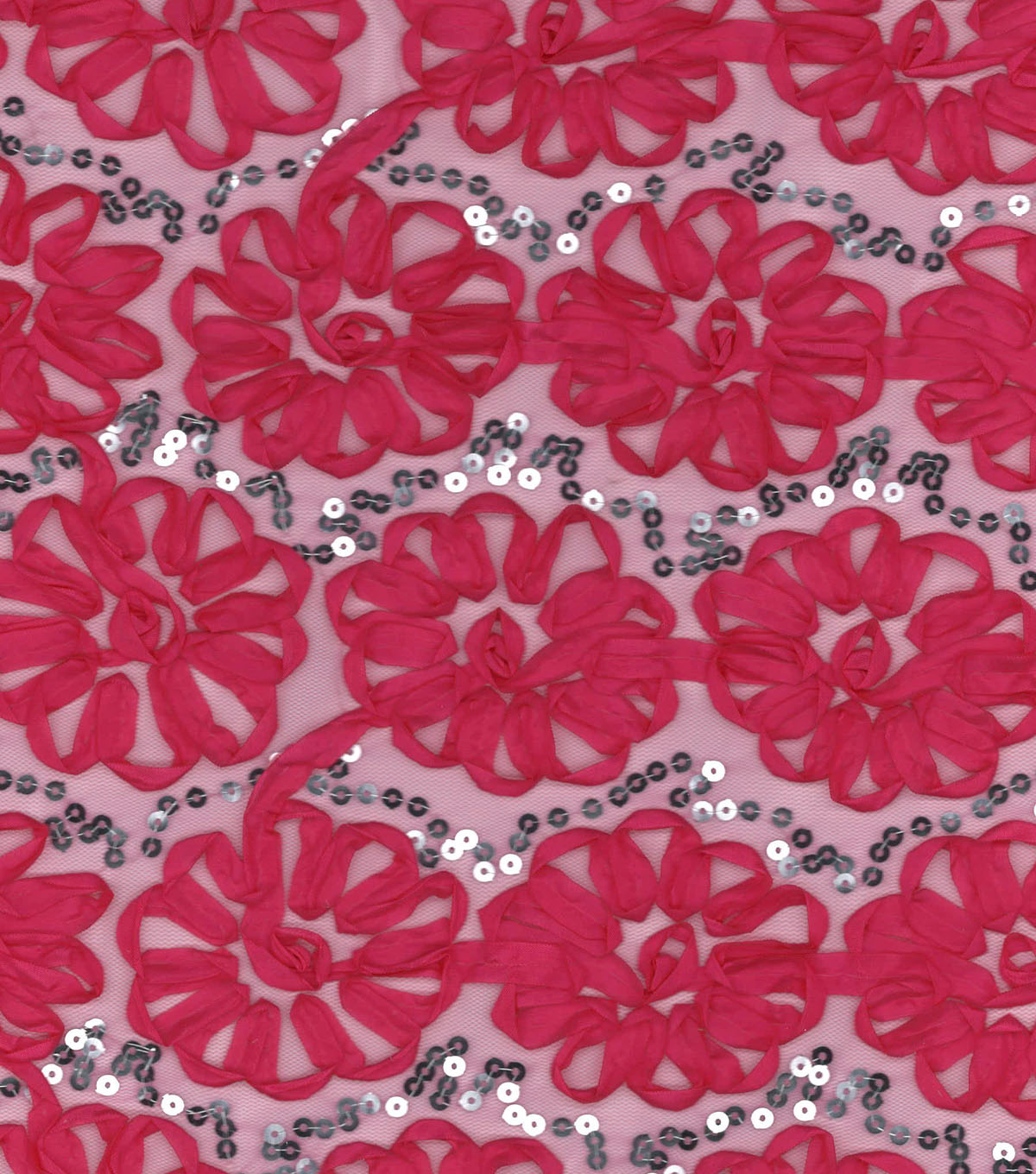 "Glitterbug Mesh Fabric 56""-Embroidered Floral Pink"