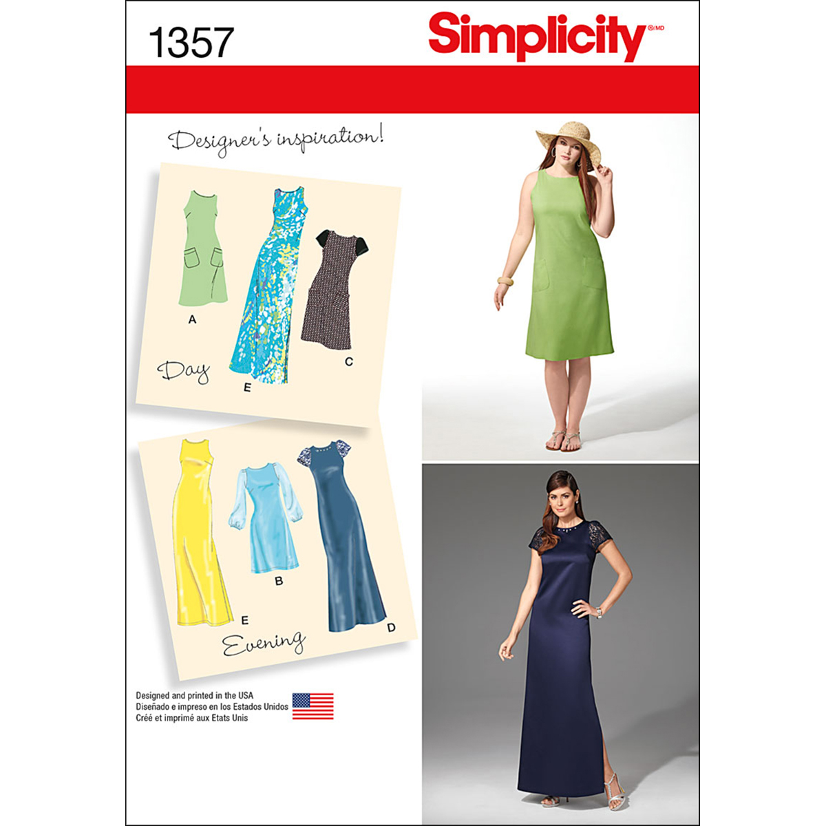Simplicity Pattern 1357AA 10-12-14-1-Misses Dresses
