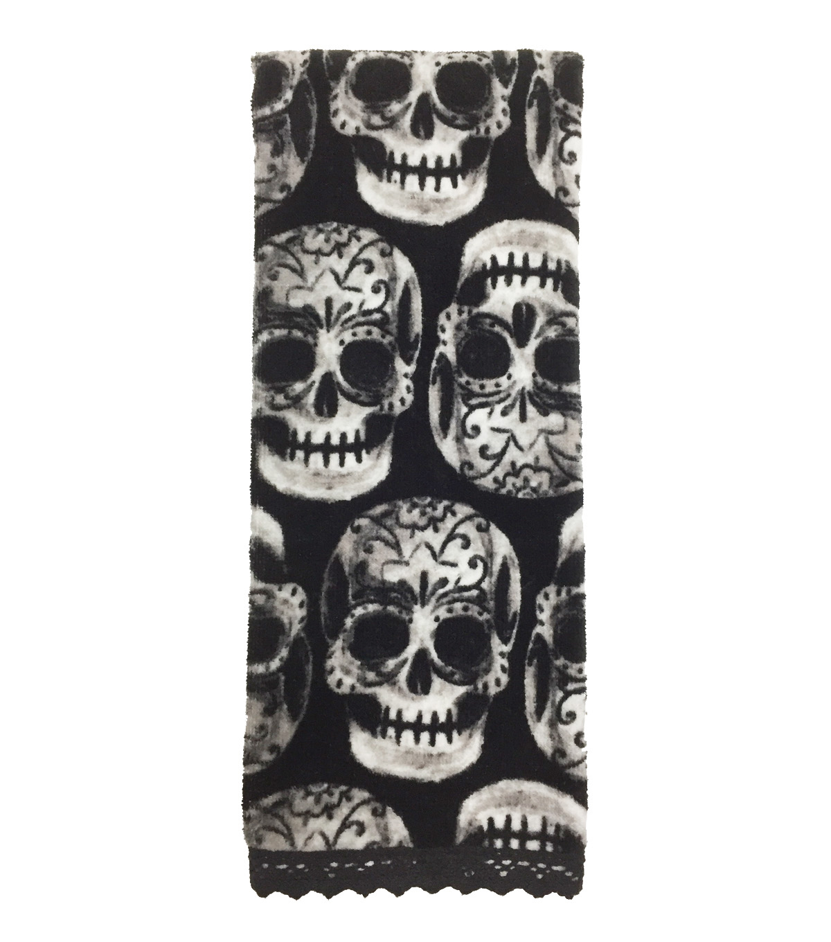 Maker\u0027s Halloween Velour & Terry Hand Towel 16\u0022x28\u0022-Decorative Skulls