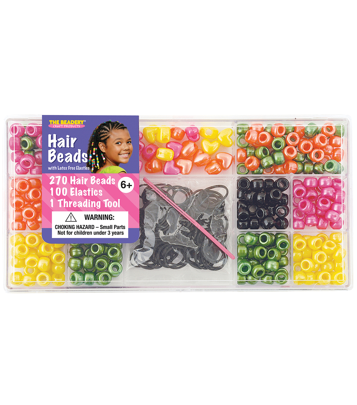 Beadery Large Hair Bead Kit-Bright Pearl