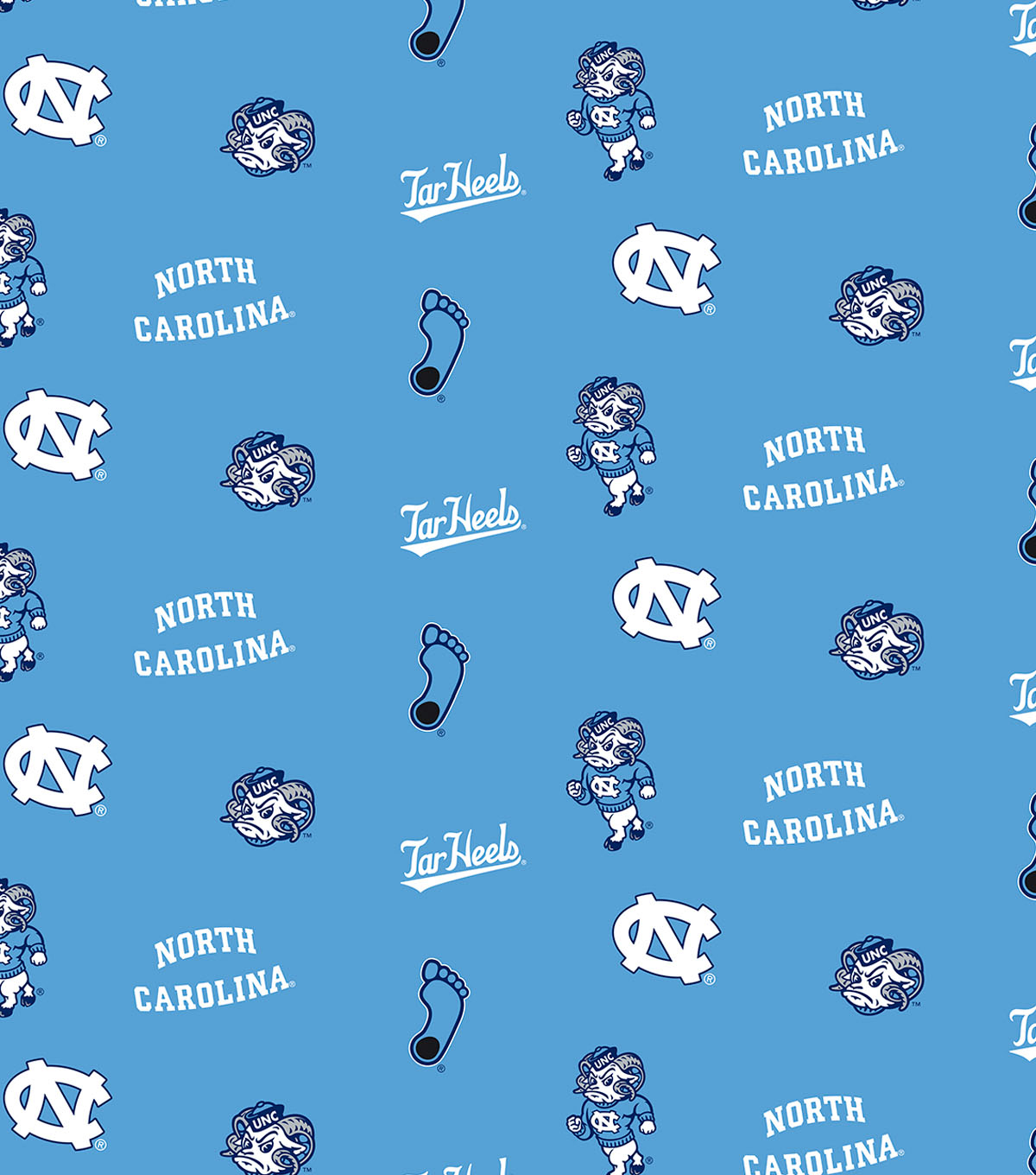 "North Carolina State Wolfpack Cotton Fabric 44""-Blue All Over"