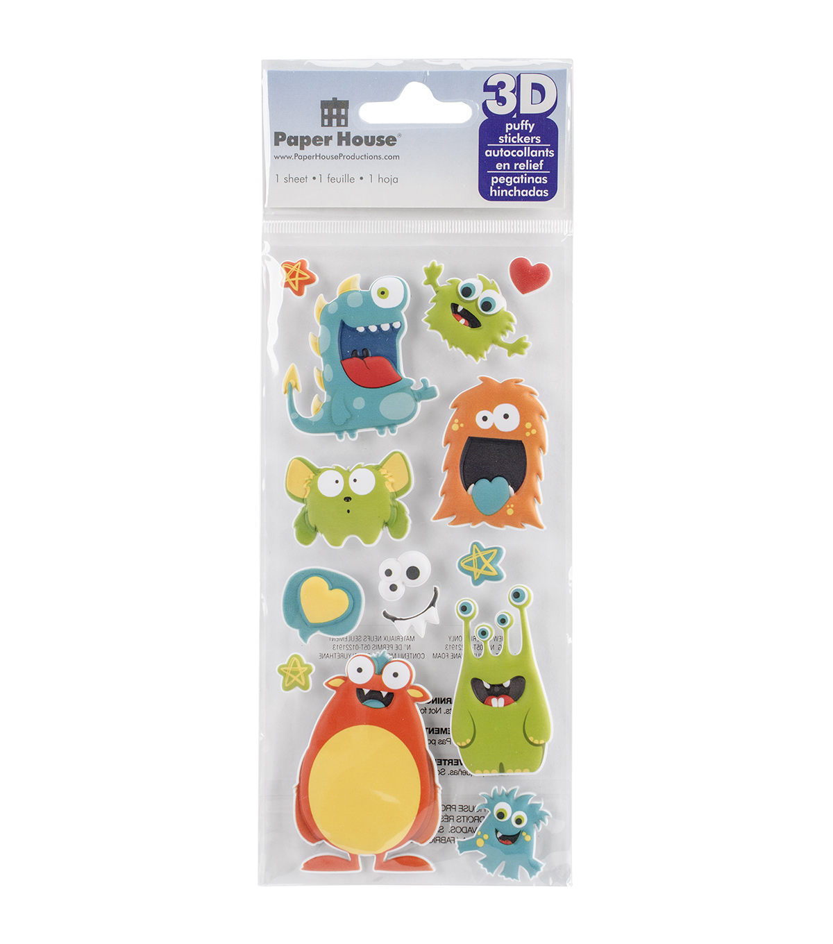 Paper House® Puffy Stickers-Monsters
