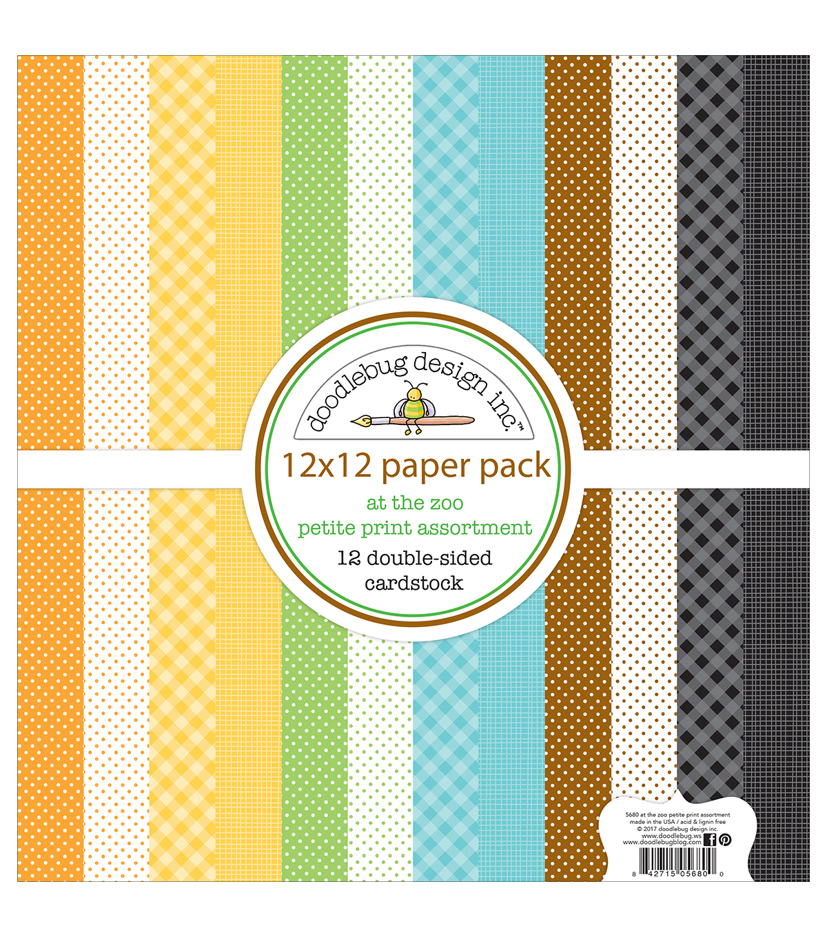 Doodlebug Petite Prints Double-Sided Cardstock 12\u0022X12\u0022-At The Zoo