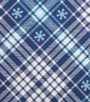Christmas Cotton Fabric 43''-Blue Snowflakes & Blue/White Plaid